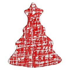 Red Decorative Pattern Christmas Tree Ornament (2 Sides) by Valentinaart