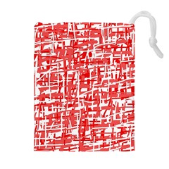 Red Decorative Pattern Drawstring Pouches (extra Large) by Valentinaart