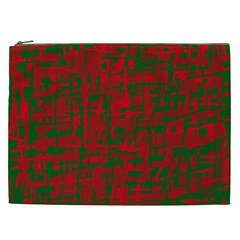 Green And Red Pattern Cosmetic Bag (xxl)  by Valentinaart