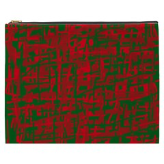 Green And Red Pattern Cosmetic Bag (xxxl)  by Valentinaart