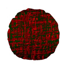 Green And Red Pattern Standard 15  Premium Round Cushions by Valentinaart
