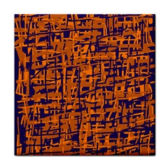 Blue and orange decorative pattern Tile Coasters by Valentinaart