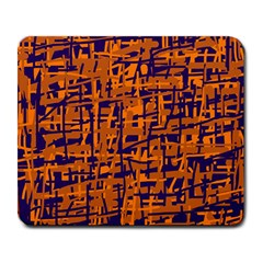 Blue And Orange Decorative Pattern Large Mousepads by Valentinaart