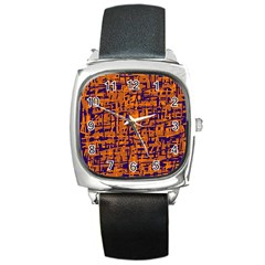 Blue And Orange Decorative Pattern Square Metal Watch by Valentinaart