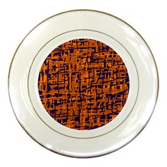 Blue And Orange Decorative Pattern Porcelain Plates by Valentinaart