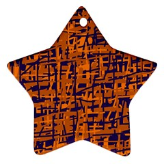 Blue And Orange Decorative Pattern Star Ornament (two Sides)  by Valentinaart