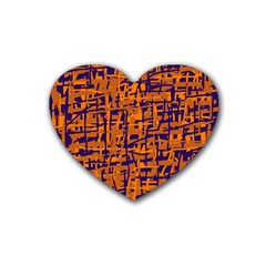 Blue And Orange Decorative Pattern Rubber Coaster (heart)  by Valentinaart