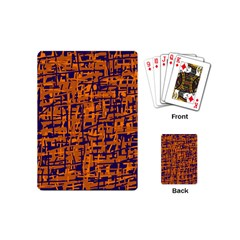 Blue and orange decorative pattern Playing Cards (Mini)  by Valentinaart