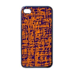 Blue And Orange Decorative Pattern Apple Iphone 4 Case (black) by Valentinaart
