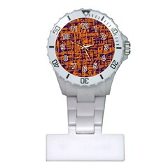 Blue And Orange Decorative Pattern Plastic Nurses Watch by Valentinaart
