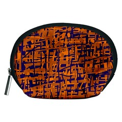 Blue And Orange Decorative Pattern Accessory Pouches (medium)  by Valentinaart