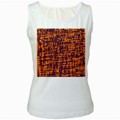 Orange And Blue Pattern Women s White Tank Top by Valentinaart
