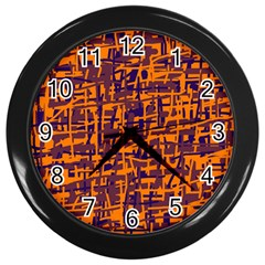 Orange And Blue Pattern Wall Clocks (black) by Valentinaart