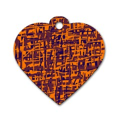 Orange And Blue Pattern Dog Tag Heart (one Side) by Valentinaart