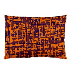 Orange And Blue Pattern Pillow Case by Valentinaart