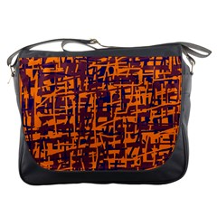 Orange And Blue Pattern Messenger Bags by Valentinaart