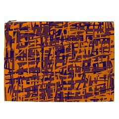 Orange And Blue Pattern Cosmetic Bag (xxl)  by Valentinaart