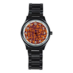 Orange And Blue Pattern Stainless Steel Round Watch by Valentinaart
