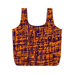 Orange And Blue Pattern Full Print Recycle Bags (m)  by Valentinaart