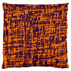 Orange And Blue Pattern Large Flano Cushion Case (one Side) by Valentinaart