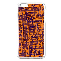 Orange And Blue Pattern Apple Iphone 6 Plus/6s Plus Enamel White Case by Valentinaart