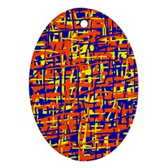 Orange, Blue And Yellow Pattern Ornament (oval)  by Valentinaart