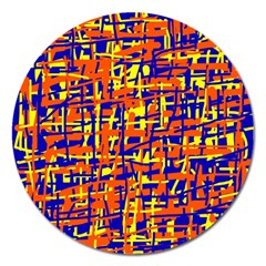 Orange, Blue And Yellow Pattern Magnet 5  (round) by Valentinaart