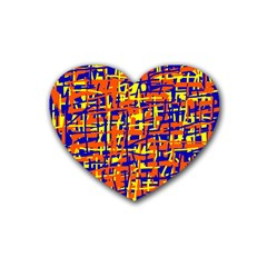 Orange, Blue And Yellow Pattern Rubber Coaster (heart)  by Valentinaart