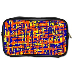 Orange, Blue And Yellow Pattern Toiletries Bags 2 Side by Valentinaart