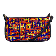 Orange, Blue And Yellow Pattern Shoulder Clutch Bags by Valentinaart