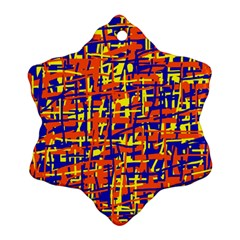 Orange, Blue And Yellow Pattern Ornament (snowflake)  by Valentinaart