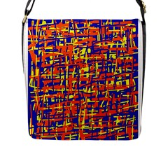 Orange, Blue And Yellow Pattern Flap Messenger Bag (l)  by Valentinaart