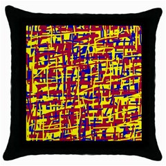 Red, Yellow And Blue Pattern Throw Pillow Case (black) by Valentinaart