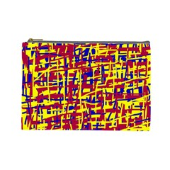 Red, Yellow And Blue Pattern Cosmetic Bag (large)  by Valentinaart