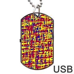 Red, Yellow And Blue Pattern Dog Tag Usb Flash (one Side) by Valentinaart