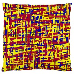 Red, Yellow And Blue Pattern Large Cushion Case (one Side) by Valentinaart