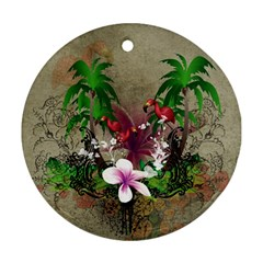 Wonderful Tropical Design With Palm And Flamingo Round Ornament (Two Sides)  by FantasyWorld7