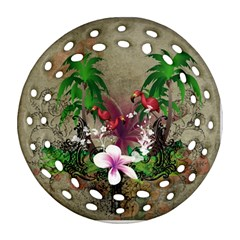 Wonderful Tropical Design With Palm And Flamingo Ornament (round Filigree)
