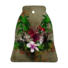 Wonderful Tropical Design With Palm And Flamingo Bell Ornament (2 Sides) by FantasyWorld7