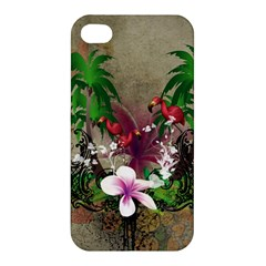 Wonderful Tropical Design With Palm And Flamingo Apple Iphone 4/4s Hardshell Case by FantasyWorld7
