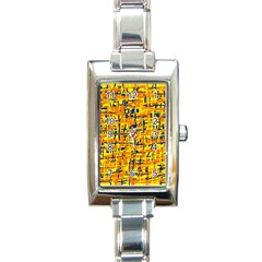 Yellow, Orange And Blue Pattern Rectangle Italian Charm Watch by Valentinaart