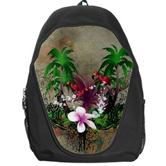 Wonderful Tropical Design With Palm And Flamingo Backpack Bag by FantasyWorld7