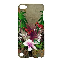 Wonderful Tropical Design With Palm And Flamingo Apple Ipod Touch 5 Hardshell Case by FantasyWorld7