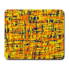 Yellow, Orange And Blue Pattern Large Mousepads by Valentinaart
