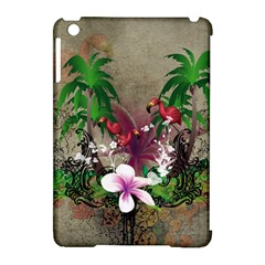 Wonderful Tropical Design With Palm And Flamingo Apple Ipad Mini Hardshell Case (compatible With Smart Cover) by FantasyWorld7