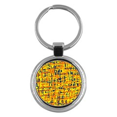 Yellow, Orange And Blue Pattern Key Chains (round)  by Valentinaart