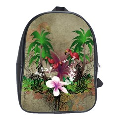 Wonderful Tropical Design With Palm And Flamingo School Bags (xl)  by FantasyWorld7