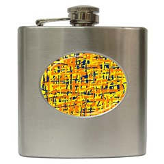 Yellow, Orange And Blue Pattern Hip Flask (6 Oz) by Valentinaart
