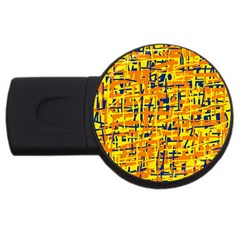 Yellow, Orange And Blue Pattern Usb Flash Drive Round (4 Gb)  by Valentinaart