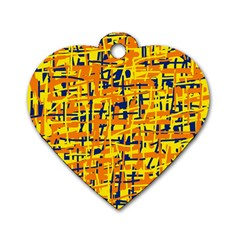 Yellow, Orange And Blue Pattern Dog Tag Heart (one Side) by Valentinaart